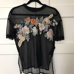 All Saints Tops - All Saints Keela Tee - floral and mesh in black